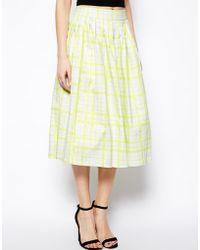 Asos Full Midi Skirt In Neon Check - Lyst
