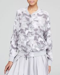 DKNY Pure Camo Print Silk Bomber Jacket - Lyst
