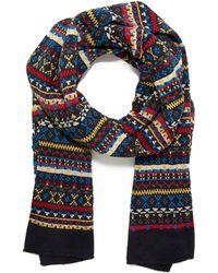 21men Fair Isle Striped Knit Scarf - Lyst