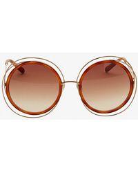 Chloé   Carlina Wire Rim/acetate Frame Sunglasses: Gold/brown   Lyst