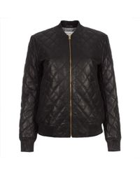 Paul Smith Quilted Leather Bomber Jacket - Black