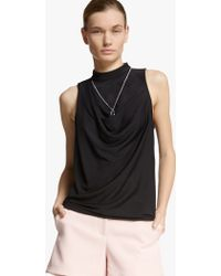 Halston Cowl Back Jersey Top - Lyst