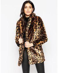 AX Paris - Coat In Faux Leopard Fur - Lyst
