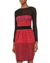 M Missoni Printed Long-Sleeve Knit Dress - Lyst