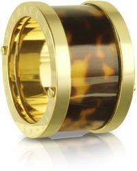 Michael Kors - Goldtone Steel And Tortoise Barrel Ring - Lyst