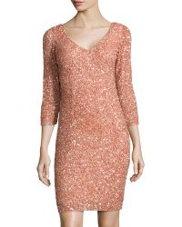 Theia V-Neck Beaded Cocktail Dress - Lyst