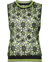 MSGM Embroidered Lace Tank Top - Lyst