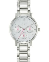 Kate Spade Gramercy Grand Multifunction Silver Watch Silver - Lyst