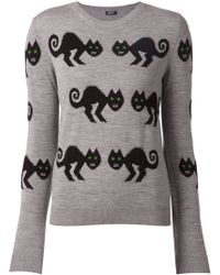 Jil Sander Navy Cat Intarsia Sweater - Lyst