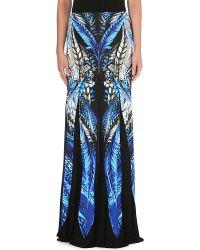 Roberto Cavalli Feather Print Maxi Skirt Blue - Lyst