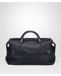 Bottega Veneta New Dark Navy Calf And Karung Top Handle Bag - Lyst