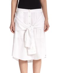 T By Alexander Wang Cotton Illusion-Waist Skirt - Lyst