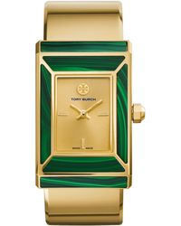 Tory Burch | Robinson Malachite & Goldtone Stainless Steel Bracelet Watch | Lyst