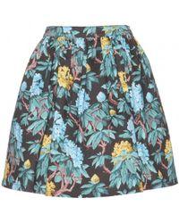 Miu Miu Floral-print Denim Skirt - Lyst