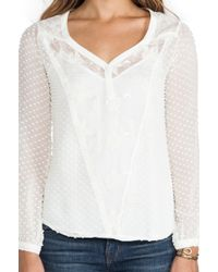 Beyond Vintage Jill Swiss Dot Top in Ivory - Lyst