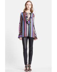 Emilio Pucci Ruffle Detail Silk Shirt multicolor - Lyst