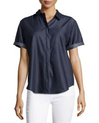 F.t.b By Fade To Blue - Short-sleeve Chambray Blouse - Lyst