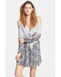 Free People 'Penny Love' Print Cold Shoulder Dress white - Lyst