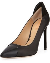 Reed Krakoff Academy Leather Pointed-Toe Pump black - Lyst