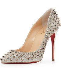 Christian Louboutin Follies Spike-studded Glitter Red Sole Pump - Lyst