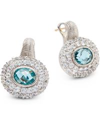 Judith Ripka Isabella Spinel White Sapphire Doublerow Pavé Earrings - Lyst