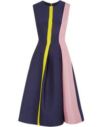 Roksanda Ilincic Navy Colour Block Fit And Flare Dress - Lyst