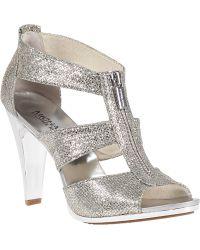 MICHAEL Michael Kors | Berkley Leather Glitter-Embellished Sandals  | Lyst