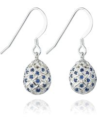 Kinnari | Silver Small Egg Earrings With Blue Sapphires | Lyst