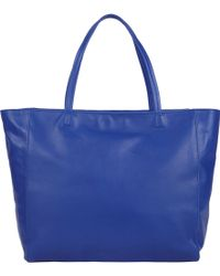 Barneys New York Blue Topzip Tote - Lyst
