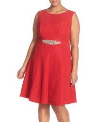 Eliza J | Embellished Waist Sparkle Fit & Flare Dress | Lyst