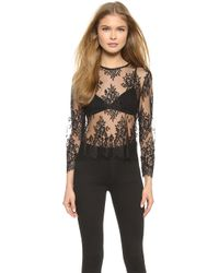 Mason by Michelle Mason Lace Top - Black - Lyst