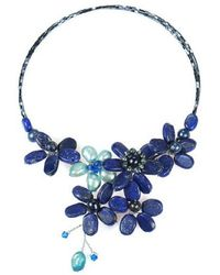 Aeravida - Blue Floral Lace Lapis And Pearl Crystal Wrap Necklace - Lyst