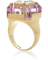 Kara Ross - 18k Gold Amethyst Base and Blue Topaz Inset Small Cava Ring with Four Diamond Accents - Lyst