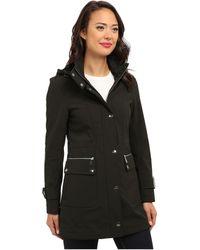DKNY Hooded Soft Shell Coat Y4 - Lyst