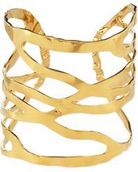 Devon Leigh - 18k Gold-plated Open Weave Cuff - Lyst