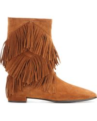 Roger Vivier Fringed Suede Ankle Boots - Brown
