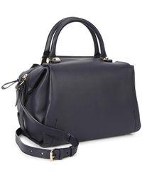 Lanvin - Trilogy Navy Leather Bowling Bag - Lyst