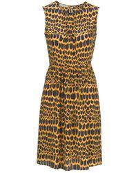 Stefanel Printed Silk Crepe De Chine Dress - Lyst