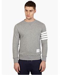 Thom Browne Men'S Grey Cotton Sweatshirt - Lyst