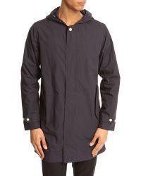 La Panoplie Navy Blue Waterproof Jacket With Hood - Lyst