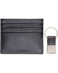 Calvin Klein Saffiano Leather Two-Tone Card Case & Key Fob - Lyst