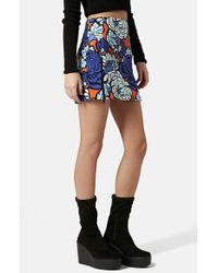 Topshop 'Paris Blue' Floral Miniskirt - Lyst