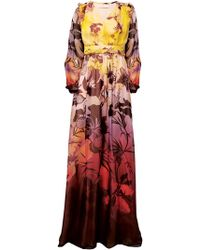 Matthew Williamson Hibiscus Silk Chiffon Long Sleeve Gown - Lyst