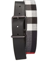 Burberry Leather & Canvas Check Belt black - Lyst