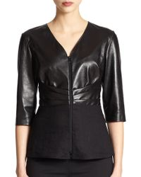 Lafayette 148 New York Mixed-Media Top - Lyst