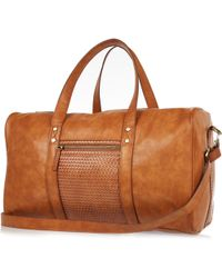River Island Tan Brown Lattice Holdall Bag