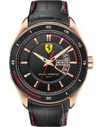 Scuderia Ferrari Men'S Gran Premio Black Leather Strap Watch 45Mm 830185