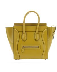 Celine Chartreuse Leather 'Luggage' Trapeze Bag - Lyst