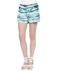 Haute Hippie Printed Drawstring Silk Summer Shorts - Lyst