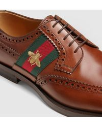 Gucci Leather Lace-up With Bee Web - Brown
